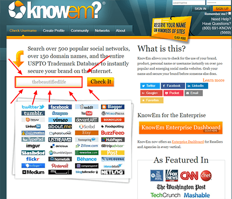 KnowEm Blog Name Availability