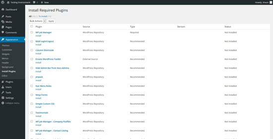 Jobify Required Plugins