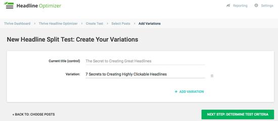 Thrive Headline Optimizer Variations
