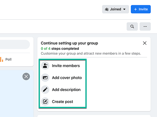 Continue setting up your group