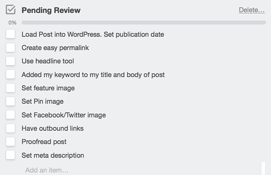 Trello Checklist