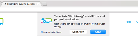UKLinkology push notification