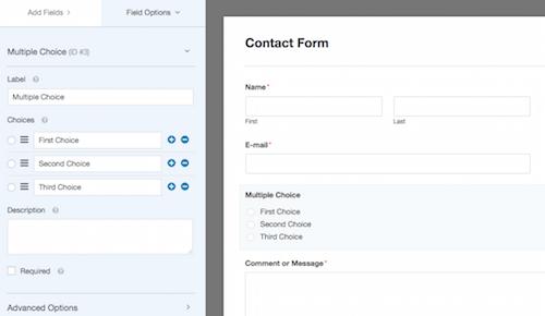 1f WPForms field options