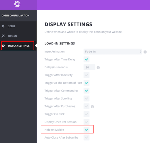 Bloom Settings For Popups