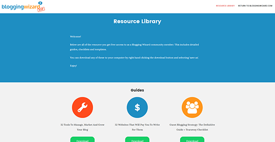 Blogging Wizard Resource Library