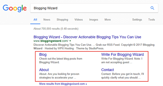 Blogging Wizard Sitelinks