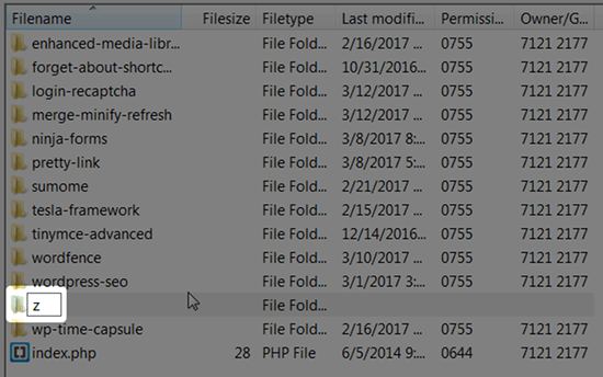 filezilla rename file