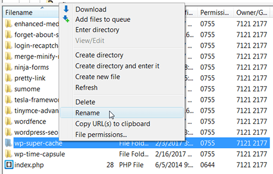 filezilla rename folder
