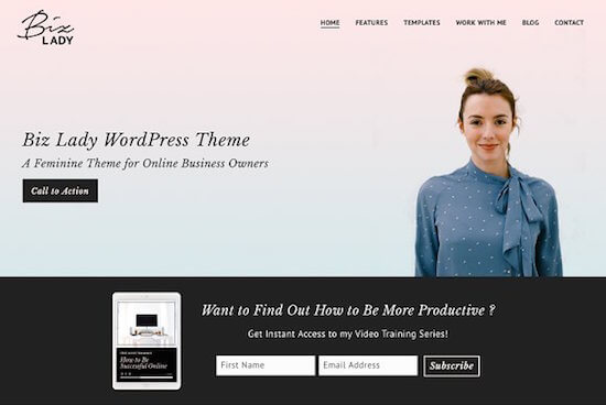 27 top landing page themes for wordpress in 2018 boost conversions continuing with the feminine theme from aprettierweb is biz lady this theme is ideal for online business owners such as coaches service providers flashek Choice Image