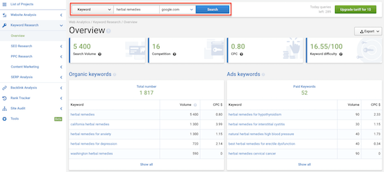 2a Serpstat Keyword Research Overview