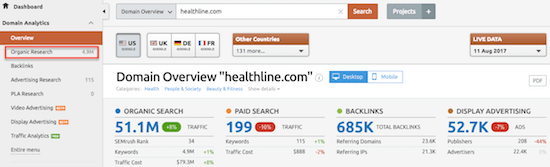 4b semrush Domain Overview