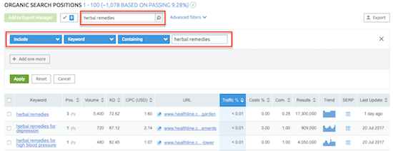 4d semrush Organic Search Filter