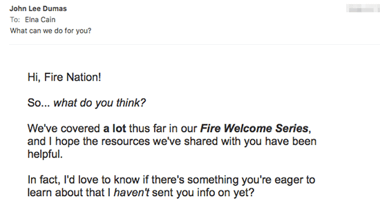 Fire Nation email easy to read