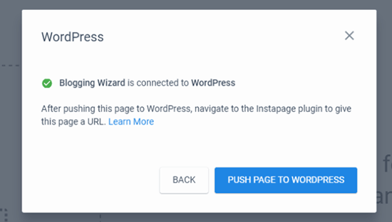 Push Page To WordPress
