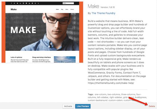 WP Admin Make Delete