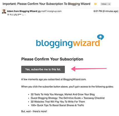 Blogging Wizard Confirmation