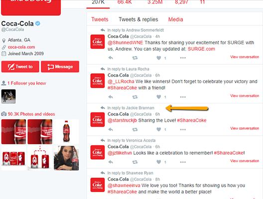 Coca Cola Tweet Example 4
