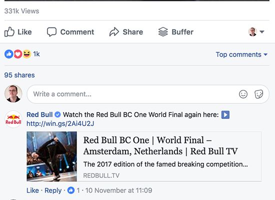 Red Bull Post Example