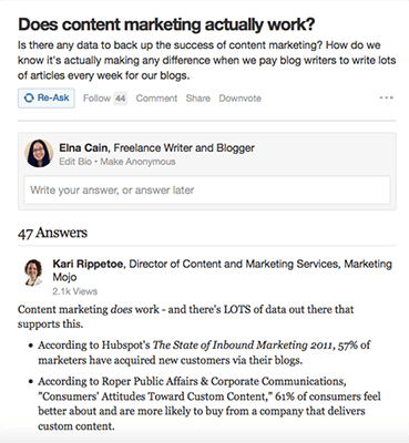 Content Marketing Question
