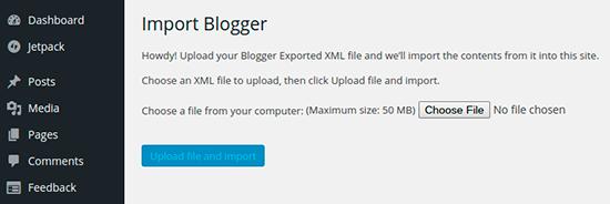 Import Blogger upload