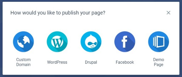 Instapage Landing Page Publishing Options
