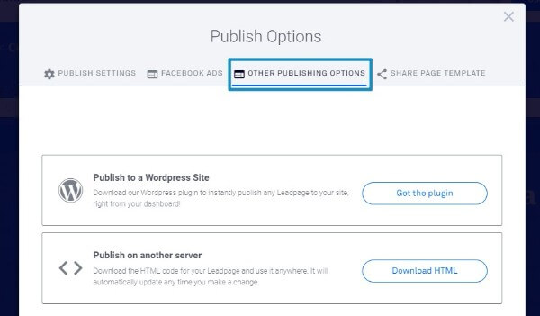 Leadpages Landing Page Publishing Options