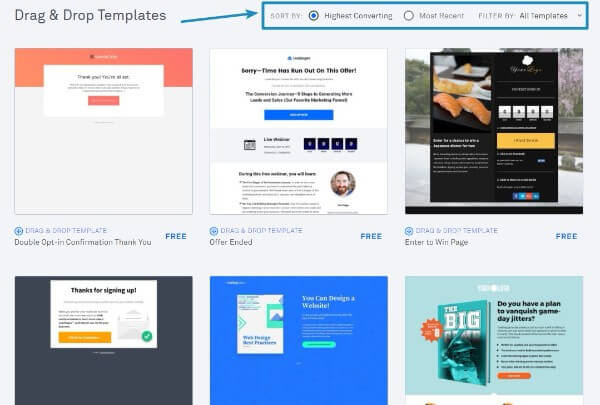 Leadpages Sort By High Converting