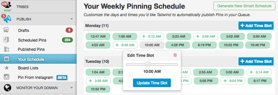 Weekly Pinning Schedule