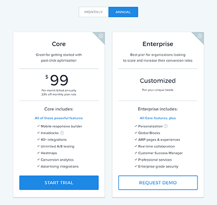 Instapage New Pricing Structure