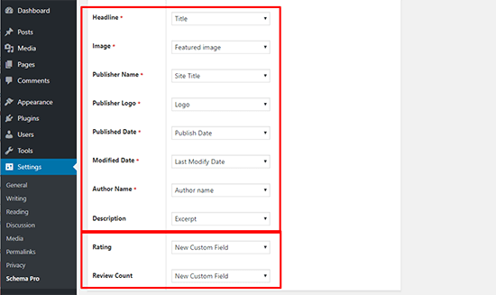 Example Screenshot Schema Pro Rich Snippets