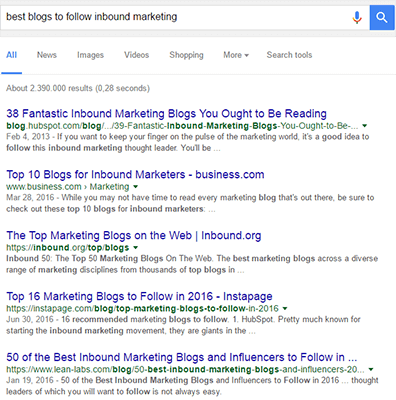Inbound Marketing Google Search