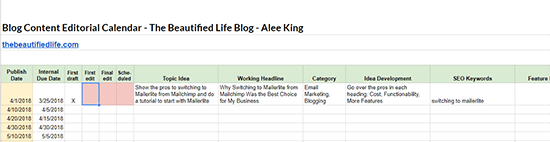 Simple Content Calendar With Google Sheets