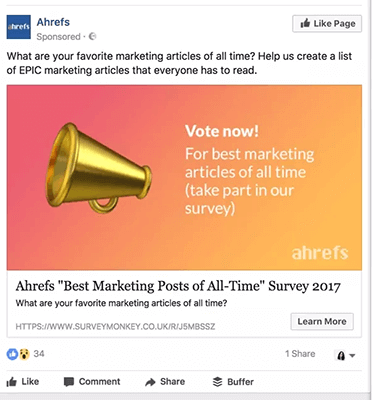 Ahrefs Facebook Ad Survey Example