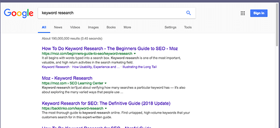 Google Results Moz Backlinko