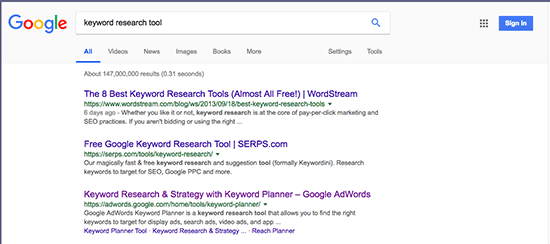 Google Results US SERPs Wordstream