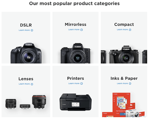 Product Categories Canon