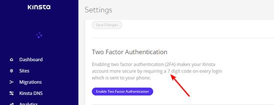 Kinsta 2 Factor Authorization