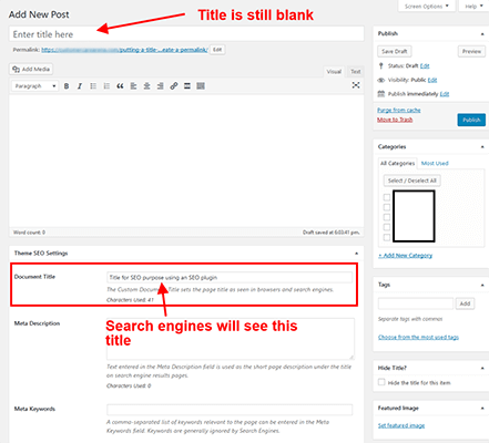 Title for SEO Hide Page And Post Titles In WordPress