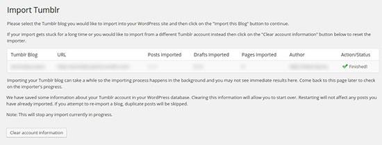 Import Tumblr Finished