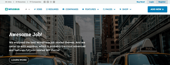 WPJobus homepage