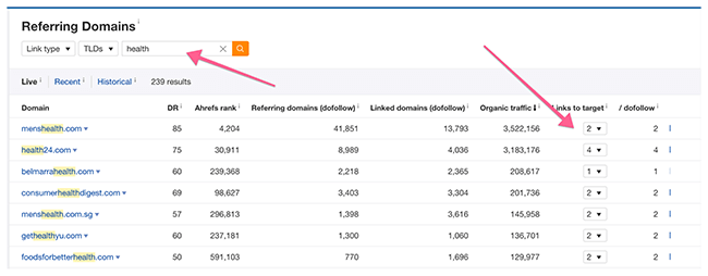 Ahrefs Search Bar Referring Domains