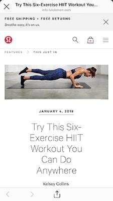 Lululemon workout example 2