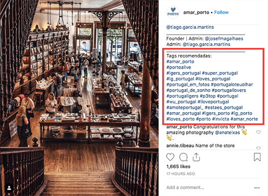 Recommended Instagram hashtags