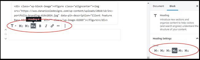 WordPress Heading Selection