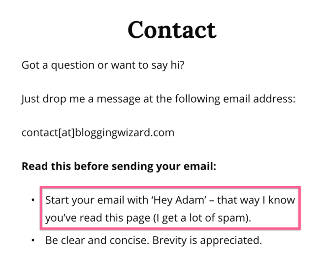 Blogging Wizard Contact Page