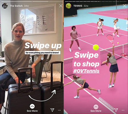 Instagram swipe up stickers to draw attention