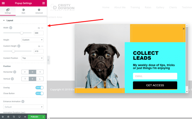 Configure The Popup Template