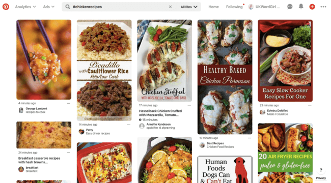 Chicken recipes hashtags