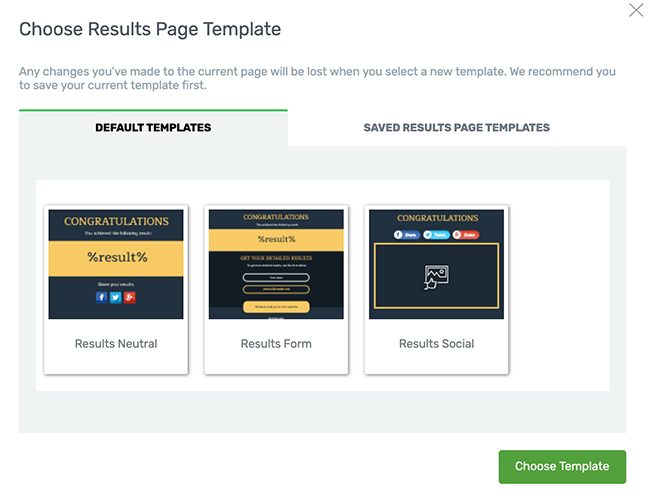 18 Choose a results template page
