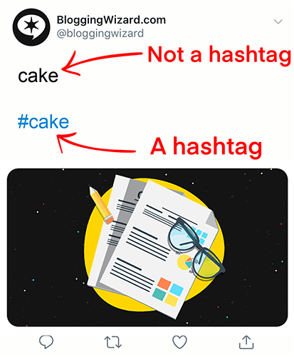 Add a hash to turn a phrase into a hashtag